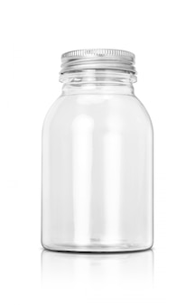 Transparent plastic bottle with aluminum cover isolated