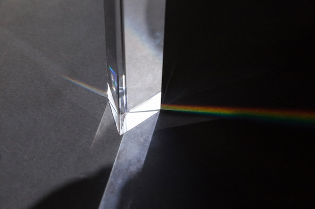 Transparent prism with rainbow