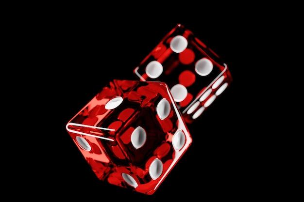 透明な赤いサイコロのデザイン。 2つのサイコロカジノゲームテンプレートの概念。カジノの背景。