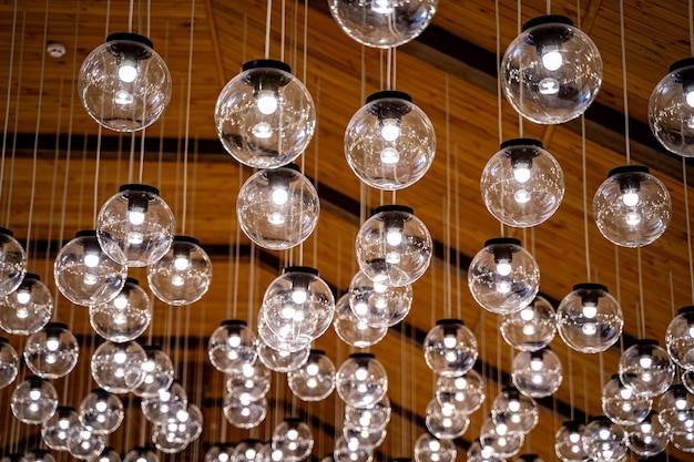 Transparent round glass celling lamps. wooden celling/. modern design.