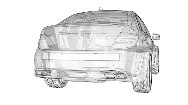 투명한 초고속 스포츠카는 흰색 배경에 선을 그렸습니다. 체형의 세단. 튜닝은 일반 가족용 자동차의 버전입니다. 3d 렌더링.