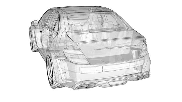 투명한 초고속 스포츠카는 흰색 배경에 선을 그렸습니다. 체형 세단. 튜닝은 일반 가족용 자동차의 버전입니다. 3d 렌더링.