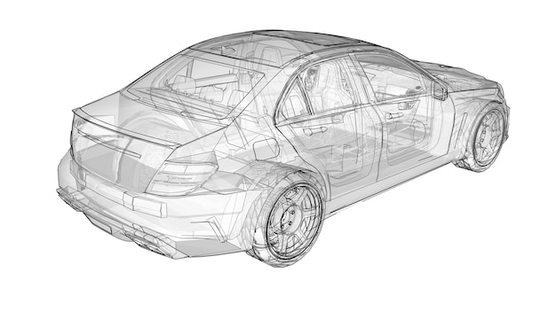 Transparent super fast sports car delineated lines on a white background. body shape sedan. tuning is a version of an ordinary family car. 3d rendering.