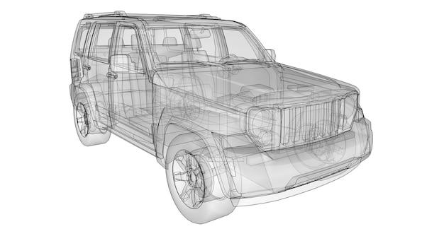 Прозрачный внедорожник с простыми прямыми линиями кузова. 3d-рендеринг.