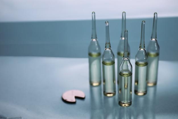 Transparent vials of medicine