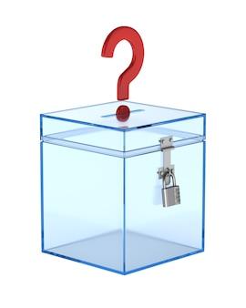 Прозрачный ящик для голосования и вопрос. изолированный 3d-рендеринг
