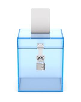 Прозрачный ящик для голосования. изолированный 3d-рендеринг