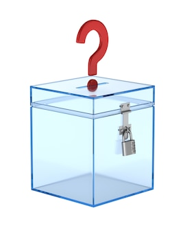 Transparent voting box and question. isolated 3d rendering