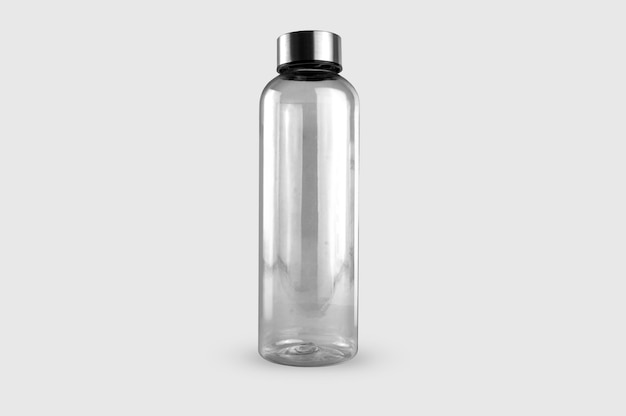 Transparent water bottle isolated