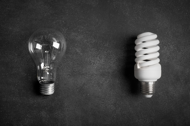 Transparent and white (energy saving) electric bulbs