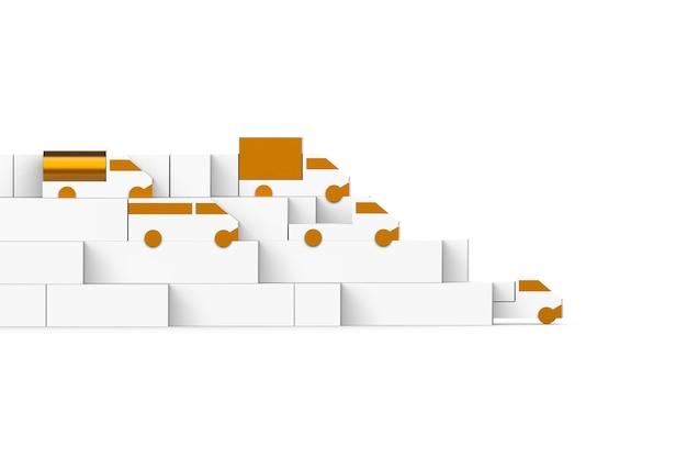 수송 3d 시각적 트럭 세트 금속 트럭 장난감 모델 물류 광고 삽화 렌더링