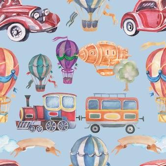輸送車列車トレーラー気球飛行船シームレス水彩イラスト手描きクリップアート赤ちゃんかわいいセット大きなヴィンテージレトロタイプライターツリーリボンの碑文の写真の保育園