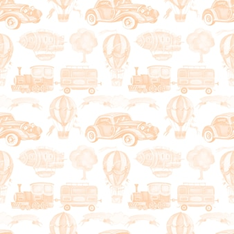 Transport car train trailer balloon airship seamless  watercolor illustration hand drawn clipart baby cute set large vintage retro typewriter tree ribbon for inscription  pictures for nursery