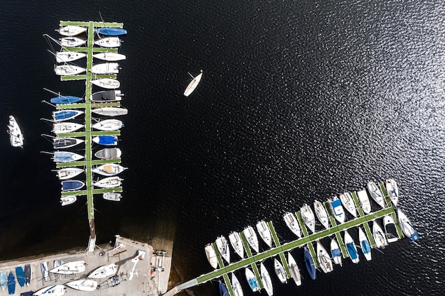 Transport concept with boats in harbor