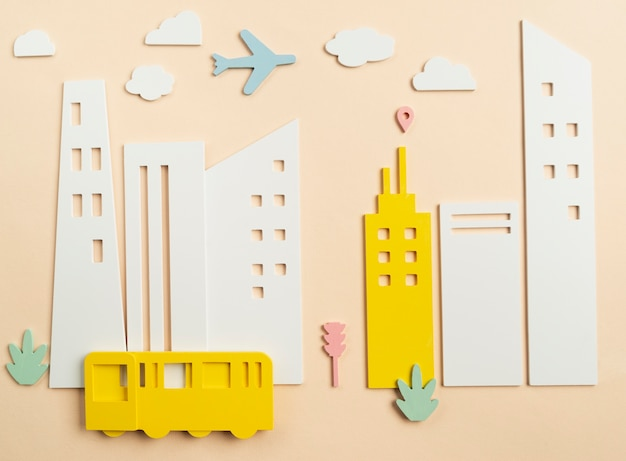 Concetto di trasporto con aereo e autobus