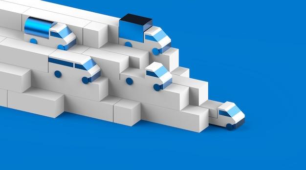 운송 생성자 3d 시각적 원시 트럭 세트 렌더링 물류 광고 그림