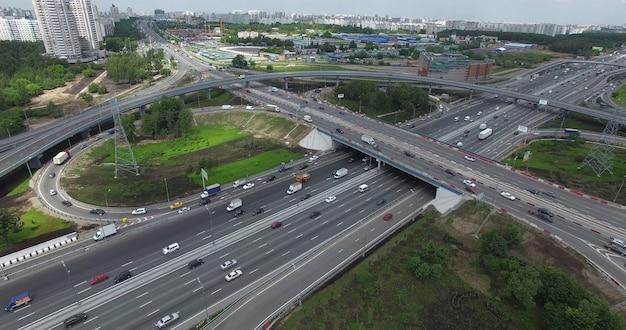 モスクワの航空写真の交通インフラ