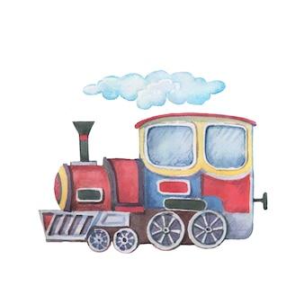 輸送列車トレーラー水彩イラスト手描きクリップアート赤ちゃんかわいいセット大きなヴィンテージレトロタイプライターツリーリボンの碑文の写真の保育園p