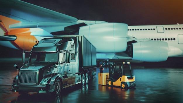 수입 수출 3d 렌더링 및 일러스트레이션을 위한 운송 및 물류 트럭 비행기 지게차