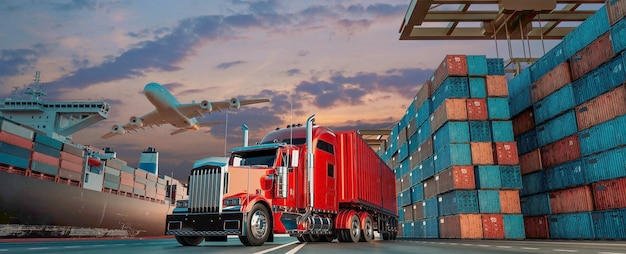 컨테이너 화물선 및 화물기의 운송 및 물류. 3d 렌더링 및 그림입니다.