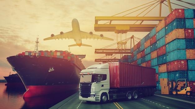 Транспортировка и логистика контейнеровозов и грузовых самолетов. 3d-рендеринг и иллюстрация.