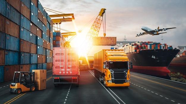 コンテナ貨物船と貨物機の輸送とロジスティクス。 3dレンダリングとイラスト。