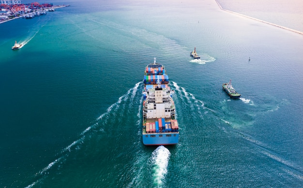 Transportation business cargo containers logistics shipping service import and export international by the sea