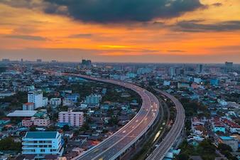 Transportation in modern city, Street night light, light trails at night on motorway