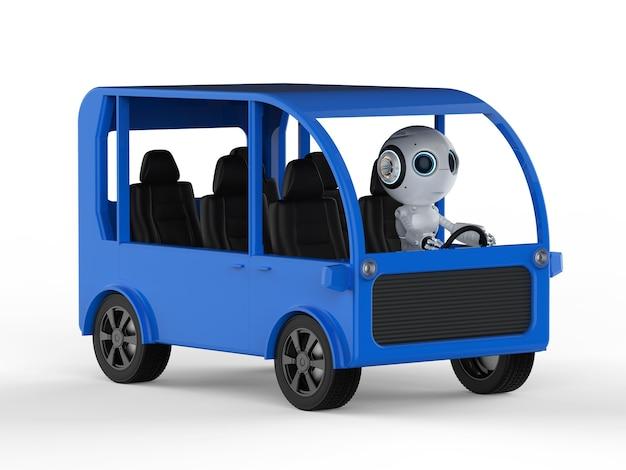 Концепция транспортных технологий с 3d-рендерингом робота за рулем мини-автобуса на белом фоне