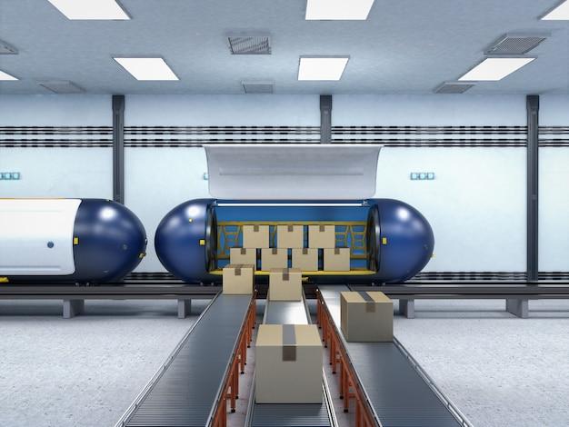 3d 렌더링 고속 자동화 열차가 있는 운송 기술은 판지 상자를 운반합니다.
