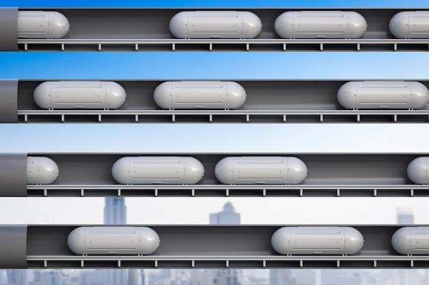 터널에서 3d 렌더링 고속 자동화 열차를 사용한 운송 기술
