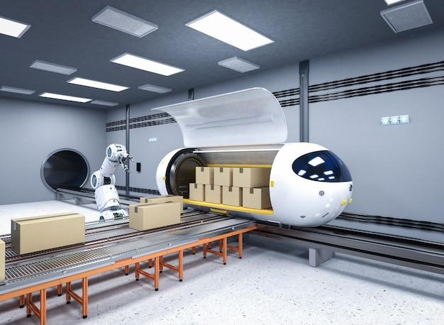Транспортные технологии с 3d-рендерингом, робот переносит картонные коробки в поезд автоматизации