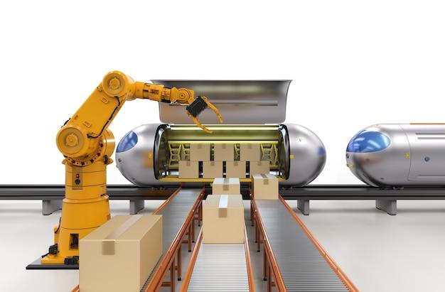 3d 렌더링 로봇이 있는 운송 기술은 판지 상자를 자동화 기차로 운반합니다.