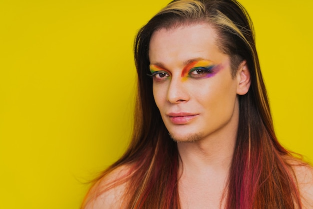 Transsexual male portrait, conceptual support for gay people, lesbians, transgender and against homophobia