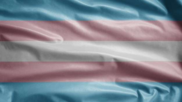 Transsexuality flag waving in the wind. close up of transsexual template blowing, soft and smooth silk. cloth fabric texture ensign background. use it for pride gay day and events concept