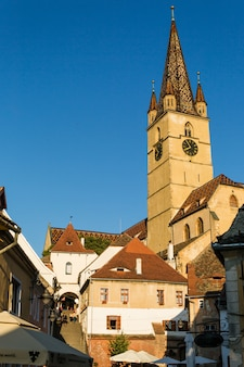 Transylvania. lutheran church, built in the huet square, seen from the streets of medieval lower town city