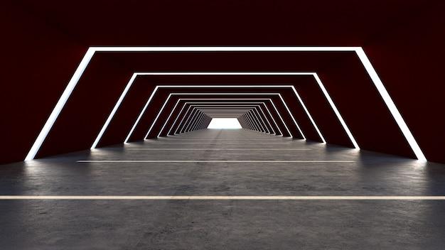 台形の未来的なトンネルとゲート