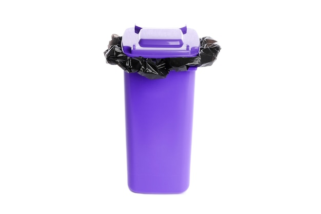 Trash bin with garbage bag isolated on white background