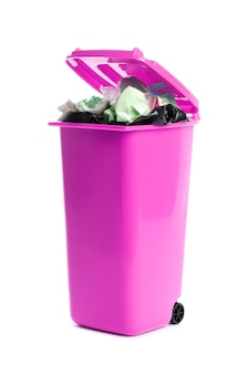 Trash bin with garbage on white background. waste recycling
