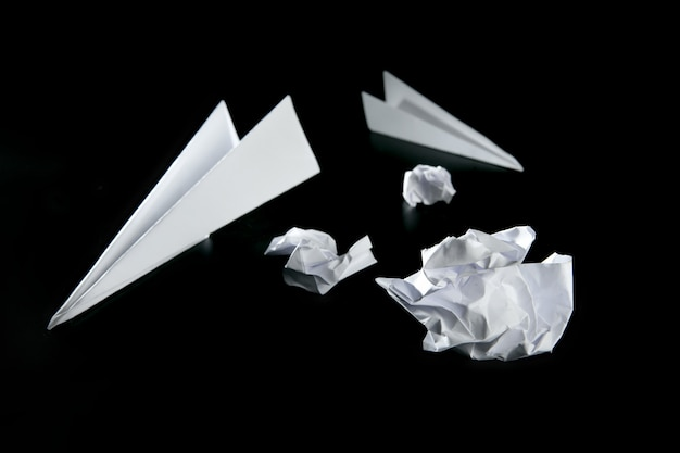 Trash paper and air plane
