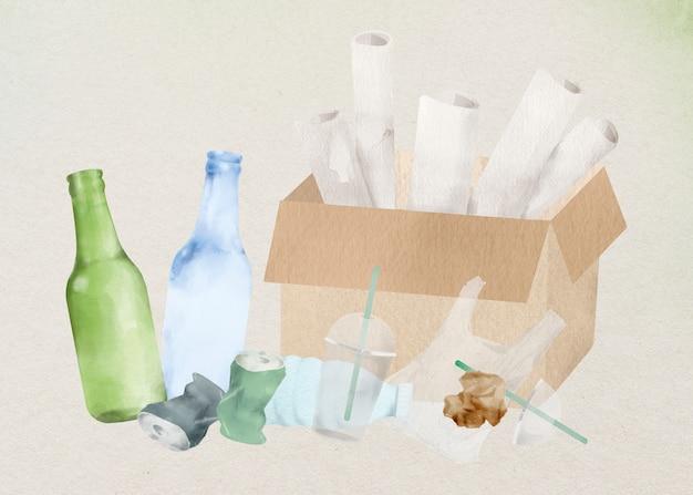 Elemento di design in carta vetro plastica cestino tra