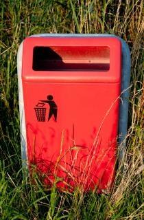 Trashcan in park
