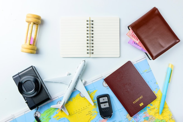 Travel accessories concept for summer vacation trip.