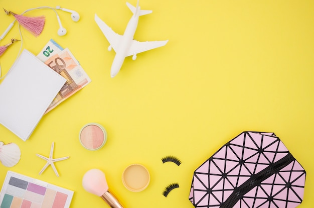 Travel accessories and copy space