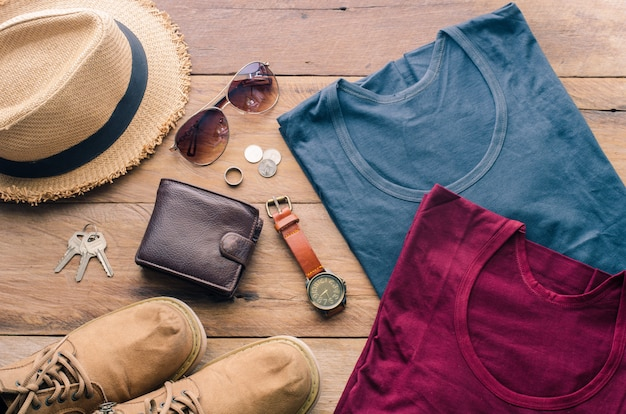 Travel accessories costumes. the cost of travel prepared for the trip