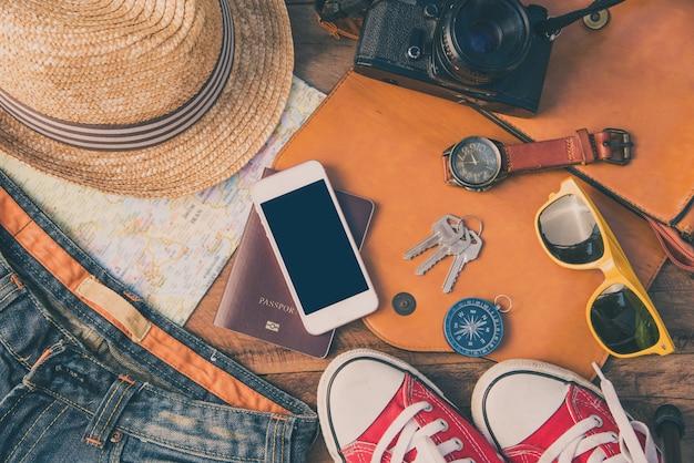 Travel accessories costumes. passports, luggage
