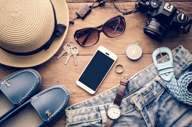 Travel accessories costumes. smart phone, luggage