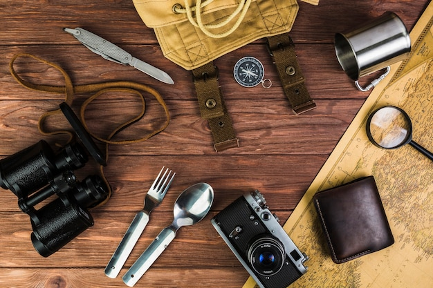 Travel accessories and eating utensil on table
