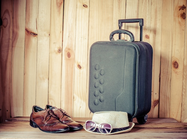 Travel accessories, luggage, shoes and hat for trip