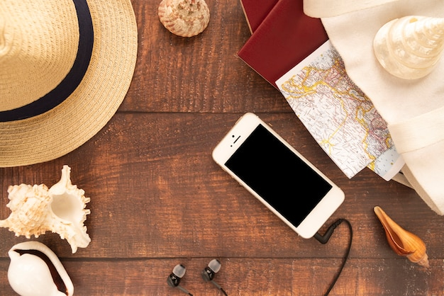 Travel accessories for a summer vacation